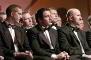 26 November 2004; 2004 Hurling All-Stars, from left, Henry Shefflin, Kilkenny, Eoin Kelly, Tipperary and Brian Corcoran, Cork, at the 2004 Vodafone GAA All-Star Awards. Citywest, Dublin. Picture credit; Ray McManus / SPORTSFILE