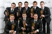 8 November 2013; Clare hurler, back row, from left, Patrick Donnellan, Brendan Bugler, Conor Ryan, David McInerney and Colm Galvin, with front row, from left, Pádraic Collins, Player of the Year and Young Player of the Year Tony Kelly and Conor McGrath with their 2013 GAA GPA All-Star award, sponsored by Opel, at the 2013 GAA GPA All-Star awards in Croke Park, Dublin. Picture credit: Paul Mohan / SPORTSFILE