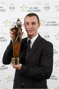 8 November 2013; Mayo footballer Keith Higgins with his 2013 GAA GPA All-Star award, sponsored by Opel, at the 2013 GAA GPA All-Star awards in Croke Park, Dublin. Picture credit: Paul Mohan / SPORTSFILE