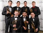 8 November 2013; Dublin footballers with their 2013 GAA GPA All-Star awards, sponsored by Opel, back row, from left, Bernard Brogan, Rory O'Carroll, Footballer of the Year Michael Darragh Macauley and Paul Flynn, with front row, from left,  Young Player of the Year Jack McCaffrey, Cian O'Sullivan and Stephen Cluxton at the 2013 GAA GPA All-Star awards in Croke Park, Dublin. Picture credit: Paul Mohan / SPORTSFILE