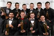 8 November 2013; Dublin hurlers and footballers with their 2013 GAA GPA All-Star awards, sponsored by Opel, back row, from left, Bernard Brogan, Rory O'Carroll, Peter Kelly, Liam Rushe, Danny Sutcliffe, and Footballer of the Year Michael Darragh Macauley, with front row, from left,  Cian O'Sullivan, Paul Flynn, Young Player of the Year Jack McCaffrey and Stephen Cluxton at the 2013 GAA GPA All-Star awards in Croke Park, Dublin. Picture credit: Stephen McCarthy / SPORTSFILE
