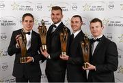 8 November 2013; Mayo footballers, from left, Lee Keegan, Aidan O'Shea, Keith Higgins and Colm Boyle with their 2013 GAA GPA All-Star awards, sponsored by Opel, at the 2013 GAA GPA All-Star awards in Croke Park, Dublin. Picture credit: Paul Mohan / SPORTSFILE