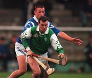 8th November 1998. Leinster's Brian McEvoy holds off the challenge of Munster's Dan Shanahan. Railway Cup, Nowlan Park, Kilkenny. Picture Credit: Ray McManus/SPORTSFILE.