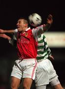 29 January 1999; Trevor Crolly of St Patrick's Athletic in action against Gino Brazil of Shamrock Rovers during the Harp Lager National League Premier Division match between St Patrick's Athletic and Shamrock Rovers at Richmond Park in Dublin. Photo by Matt Browne/Sportsfile