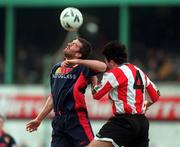 14 February 1999; Ian Gilzean St Patrick's Athletic in action against Peter Hutton of Derry City during the Harp Lager National League Premier Division match between Derry City and St Patrick's Athletic at The Brandywell Stadium in Derry. Photo by Ray Lohan/Sportsfile