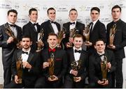 8 November 2013; Dublin hurlers and footballers with their 2013 GAA GPA All-Star awards, sponsored by Opel, back row, from left, Bernard Brogan, Rory O'Carroll, Peter Kelly, Liam Rushe, Danny Sutcliffe, and Footballer of the Year Michael Darragh Macauley, with front row, from left,  Cian O'Sullivan, Paul Flynn, Young Player of the Year Jack McCaffrey and Stephen Cluxton at the 2013 GAA GPA All-Star awards in Croke Park, Dublin. Picture credit: Paul Mohan / SPORTSFILE