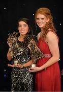 9 November 2013; Kerry players Sarah Houlihan, left, and Louise Ni Mhuircheartaigh with their TG4 Ladies Football All-Star Awards. TG4 Ladies Football All-Star Awards 2013, Citywest Hotel, Saggart, Co. Dublin. Picture credit: Brendan Moran / SPORTSFILE