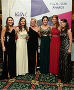 9 November 2013; Kerry footballers, from left, Caroline Kelly, Cáit Lynch, Bernie Breen, Aoife Lyons, Louise Ni Mhuircheartaigh and Sarah Houlihan in attendance at the TG4 Ladies Football All-Star Awards. TG4 Ladies Football All-Star Awards 2013, Citywest Hotel, Saggart, Co. Dublin. Picture credit: Brendan Moran / SPORTSFILE
