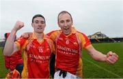 10 November 2013; James Durcan, left, and Tom Cunniffe, Castlebar Mitchels, celebrate at the end of the game. AIB Connacht Senior Club Football Championship, Semi-Final, Corofin, Galway v Castlebar Mitchels, Mayo. Tuam Stadium, Tuam, Co. Galway. Picture credit: David Maher / SPORTSFILE