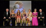 9 November 2013; Young Player of the Year award winners, from second left, Tess Murtagh, Roscommon, Lucy McCartan, Westmeath, Kate Leneghan, Cork, and Neasa Byrd, Cavan, with Hall of Fame award winner Mary Jo Curran, Kerry, Pól O Gallchóir, left, Ceannsaí, TG4 and Pat Quill, President of the Ladies Gaelic Football Association. TG4 Ladies Football All-Star Awards 2013, Citywest Hotel, Saggart, Co. Dublin. Picture credit: Brendan Moran / SPORTSFILE