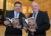"12 November 2013; Former Taoiseach Brian Cowen, left, with author Donal Keenan in attendance at the launch of his book ""Páidí - A big life"". Launch of Páidí Ó Sé Book, D4 Ballsbridge Hotel, Ballsbridge Dublin. Picture credit: Barry Cregg / SPORTSFILE"
