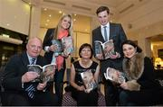 "12 November 2013; Author Donal Keenan, left, with members of Páidí Ó Sé's family, from left to right, daughter Siún, wife Máire, son Pádrig Og and daughter Neasa, in attendance at the launch of his book ""Páidí - A big life"". Launch of Páidí Ó Sé Book, D4 Ballsbridge Hotel, Ballsbridge Dublin. Picture credit: Barry Cregg / SPORTSFILE"
