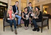 "12 November 2013; Members of Páidí Ó Sé's family, from left to right, daughter Siún, nephew Marc Ó Sé, wife Máire, son Pádrig Og and daughter Neasa, in attendance at the launch of Donal Keenan's book ""Páidí - A big life"". Launch of Páidí Ó Sé Book, D4 Ballsbridge Hotel, Ballsbridge Dublin. Picture credit: Barry Cregg / SPORTSFILE"