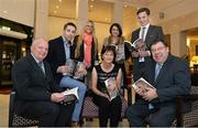 "12 November 2013; Author Donal Keenan, left, and former Taoiseach Brian Cowen, right, with members of Páidí Ó Sé's family, from left to right, nephew Marc Ó Sé, daughter Siún, wife Máire, daughter Neasa and son Pádraig Og in attendance at the launch of his book ""Páidí - A big life"". Launch of Páidí Ó Sé Book, D4 Ballsbridge Hotel, Ballsbridge Dublin. Picture credit: Barry Cregg / SPORTSFILE"