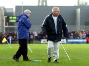 23 January 2005; Paidi O'Se, right, Westmeath manager, shares a passing joke with Mick O'Dwyer, Laois manager, during the game. O'Byrne Cup Final, Westmeath v Laois, Cusack Park, Mullingar, Co. Westmeath. Picture credit; David Maher / SPORTSFILE