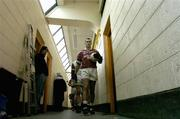 23 January 2005; Michael Ennis, Westmeath captain leads his team out before the start of the game. Byrne Cup Final, Westmeath v Laois, Cusack Park, Mullingar, Co. Westmeath. Picture credit; David Maher / SPORTSFILE