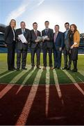 19 November 2013; Pictured are, from left, Ruth Whelan, Physiotherapy Manager, UPMC Beacon Hospital, Uachtarán Chumann Lúthchleas Gael Liam Ó Néill, Dessie Farrell, CEO of the Gaelic Players Association, John C. Murphy, Director, GAA National Injury Database, Ger Ryan, Committee Chairman, Rory Harvey, and Dr. Catherine Blake, in attendance at a GAA medical, scientific and welfare committee media briefing. Croke Park, Dublin. Picture credit: Paul Mohan / SPORTSFILE