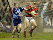 5 February 2005; Fintan Ruddy, Mayo goalkeeper, in action against David O'Callaghan, Dublin. Allianz National Football League, Division 1A, Dublin v Mayo, Parnell Park, Dublin. Picture credit; Damien Eagers / SPORTSFILE