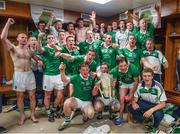 """14 July 2013;     Silverware safely ensconced. The sanctuary of a winning dressing room is truly something to behold, as any player who has played at any level will testify.    Picture credit: Ray McManus / SPORTSFILE    This image may be reproduced free of charge when used in conjunction with a review of the book """"A Season of Sundays 2013"""". All other usage © SPORTSFILE"""