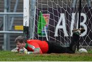 24 November 2013; Shane Curran, St Brigid's goalkeeper, lies injured on the pitch before being substituted during extra time. AIB Connacht Senior Club Football Championship Final, St Brigid's, Roscommon, v Castlebar Mitchels, Mayo. Dr. Hyde Park, Roscommon. Picture credit: David Maher / SPORTSFILE