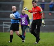 24 November 2013; Shane Curran, St Brigid's goalkeeper, remonstrates with referee Marty Duffy at the end of the normal time. AIB Connacht Senior Club Football Championship Final, St Brigid's, Roscommon, v Castlebar Mitchels, Mayo. Dr. Hyde Park, Roscommon. Picture credit: David Maher / SPORTSFILE