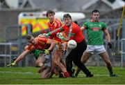 24 November 2013; Shane Curran, St Brigid's, in action against Danny Kirby and Eoghan O'Reilly, Castlebar Mitchels. AIB Connacht Senior Club Football Championship Final, St Brigid's, Roscommon, v Castlebar Mitchels, Mayo. Dr. Hyde Park, Roscommon. Picture credit: David Maher / SPORTSFILE