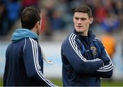 24 November 2013; St Vincent's stars Diarmuid Connolly and Ger Brennan in conversation before the game. AIB Leinster Senior Club Football Championship Semi-Final, St Vincent's, Dublin v Summerhill, Meath. Parnell Park, Dublin. Picture credit: Ray McManus / SPORTSFILE