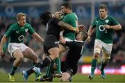 24 November 2013; Rob Kearney, Ireland, is tackled by Ma'a Nonu, left, and Cory Jane, New Zealand. Guinness Series International, Ireland v New Zealand, Aviva Stadium, Lansdowne Road, Dublin. Picture credit: Brendan Moran / SPORTSFILE