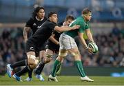 24 November 2013; Jamie Heaslip, Ireland, is tackled by Liam Messam and Richie McCaw, New Zealand. Guinness Series International, Ireland v New Zealand, Aviva Stadium, Lansdowne Road, Dublin. Picture credit: Brendan Moran / SPORTSFILE