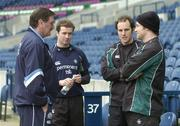 11 February 2005; Scottish assistant coach Willie Anderson left, in conversation with Irish players, from left, Geordan Murphy, Girvan Dempsey and Denis Hickie after kicking practice. Ireland squad kicking practice, Murrayfield, Edinburgh, Scotland. Picture credit; Brendan Moran / SPORTSFILE
