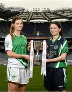 26 November 2013; Junior players Emily Brick, left, Na Gaeil, Co. Kerry, and Sue O'Sullivan, Dunedin Connolly's, Edinburgh, in attendance at a Tesco Homegrown Ladies Football All-Ireland Club Championship Finals media day. Croke Park, Dublin. Picture credit: Paul Mohan / SPORTSFILE