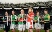 26 November 2013; In attendance at a Tesco Homegrown Ladies Football All-Ireland Club Championship Finals media day are, from left, Junior players Sue O'Sullivan, Dunedin Connolly's, Edinburgh and  Emily Brick, Na Gaeil, Co. Kerry, Senior players Marie Corbett, Carnacon, Co. Mayo, and Majella Woods, Donaghmoyne, Co. Monaghan, and Intermediate players Fabienne Cooney, Claregalway, Co. Galway, and Norah Kirby, Thomas Davis, Co. Dublin. Croke Park, Dublin. Picture credit: Paul Mohan / SPORTSFILE