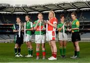 26 November 2013; In attendance at a Tesco Homegrown Ladies Football All-Ireland Club Championship Finals media day are, from left, Junior players Sue O'Sullivan, Dunedin Connolly's, Edinburgh, and  Emily Brick, Na Gaeil, Co. Kerry, Senior players Marie Corbett, Carnacon, Co. Mayo, and Majella Woods, Donaghmoyne, Co. Monaghan, and Intermediate players Fabienne Cooney, Claregalway, Co. Galway, and Norah Kirby, Thomas Davis, Co. Dublin. Croke Park, Dublin. Picture credit: Paul Mohan / SPORTSFILE