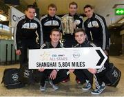 27 November 2013; Clare players, clockwise from back left; John Conlon, David McInerney, Patrick Donnellan, Brendan Bugler, Tony Kelly, and Colm Galvin at Dublin Airport prior to their departure for Shanghai for the GAA GPA All Star Tour 2013, sponsored by Opel. Dublin Airport, Dublin. Picture credit: Pat Murphy / SPORTSFILE
