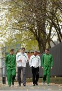 27 November 2013; In attendance at a press conference ahead of the 20th Spar European Cross Country Championships, which take place in Belgrade, Serbia, on Sunday December 8th, are, from left, Michael Mulhare, Senior Men, Kevin Ankrom, High Performance Director, Athletics Ireland, Chris Jones, National Endurance Coach, and David McCarthy, Senior Men. Alexander Hotel, Dublin. Picture credit: Brendan Moran / SPORTSFILE