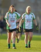 30 November 2013; A dejected Siobhan McGrath, left, and Karren Sweeney Lynch, Thomas Davis, leave the pitch after the final whistle. TESCO HomeGrown All-Ireland Intermediate Club Final, Claregalway, Galway v Thomas Davis, Dublin, St. Lomans GAA Club, Mullingar, Co. Westmeath. Picture credit: Brendan Moran / SPORTSFILE