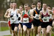 19 February 2005; Eventual winner Gary Murray (252), St. Malachy's, in action alongside Seamus Power (287), eventual second place Mark Kenneally (129), Clonliffe Harriers A.C., and Martin Fagan (187), Mullingar Harriers A.C., during the Senior Mens event. AAI National Inter Club Cross Country Championships, Santry, Dublin. Picture credit; Brian Lawless / SPORTSFILE