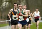 19 February 2005; Seamus Power, Kilmurray/Ibrickane A.C, leads eventual second place Mark Kenneally (129), Clonliffe Harriers A.C. 'A', and eventual winner Gary Murray, St. Malachy's A.C., during the Senior Mens event. AAI National Inter Club Cross Country Championships, Santry, Dublin. Picture credit; Brian Lawless / SPORTSFILE