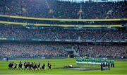 24 November 2013; The Ireland team look on as the New Zealand team perform the Haka ahead of the game. Guinness Series International, Ireland v New Zealand, Aviva Stadium, Lansdowne Road, Dublin. Picture credit: Stephen McCarthy / SPORTSFILE