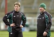26 February 2005; Out-halves Ronan O'Gara, left, with David Humphreys during kicking practice. Ireland squad kicking practice, Lansdowne Road, Dublin. Picture credit; Brendan Moran / SPORTSFILE