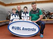 5 December 2013; Ireland head coach Joe Schmidt and Irish rugby player Fergus McFadden were joined today by six year old Brendan Mullins and nine year old Mark Casey at Lansdowne FC to announce the return of the Ulster Bank League Awards. Ulster Bank, Official Community Rugby Partner to the IRFU, first introduced the awards last season to recognise and reward the dedication and commitment shown by players, coaches and teams, across all Ulster Bank League Divisions. Lansdowne RFC, Lansdowne Road, Dublin. Picture credit: Matt Browne / SPORTSFILE