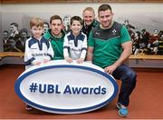 5 December 2013; Ireland head coach Joe Schmidt with rising Connacht star Craig Ronaldson right and Irish rugby player Fergus McFadden, who were joined by six year old Brendan Mullins and nine year old Mark Casey at Lansdowne FC to announce the return of the Ulster Bank League Awards. Ulster Bank, the Official Community Rugby Partner to the IRFU, first introduced the awards last season to recognise and reward the dedication and commitment shown by players, coaches and teams, across all Ulster Bank League Divisions. Lansdowne RFC, Lansdowne Road, Dublin. Picture credit: Matt Browne / SPORTSFILE