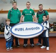 5 December 2013; Ulster Bank rugby ambassador Alan Quinlan, centre, with rising Connacht star Craig Ronaldson, left, and Irish rugby players Fergus McFadden who were joined by six year old Brendan Mullins and nine year old Mark Casey at Lansdowne FC to announce the return of the Ulster Bank League Awards. Ulster Bank, Official Community Rugby Partner to the IRFU, first introduced the awards last season to recognise and reward the dedication and commitment shown by players, coaches and teams, across all Ulster Bank League Divisions. Lansdowne RFC, Lansdowne Road, Dublin. Picture credit: Matt Browne / SPORTSFILE