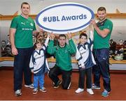 5 December 2013; Ulster Bank rugby ambassador Alan Quinlan, left, with rising Connacht star Craig Ronaldson, and Irish rugby player Fergus McFadden, right, who were joined by six year old Brendan Mullins and nine year old Mark Casey at Lansdowne FC to announce the return of the Ulster Bank League Awards. Ulster Bank, Official Community Rugby Partner to the IRFU, first introduced the awards last season to recognise and reward the dedication and commitment shown by players, coaches and teams, across all Ulster Bank League Divisions. Lansdowne RFC, Lansdowne Road, Dublin. Picture credit: Matt Browne / SPORTSFILE