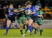 7 December 2013; Jenny Murphy, Leinster, is tackled by Niamh Ni Dromha, Connacht. Women's Interprovincial, Leinster v Connacht, Ashbourne RFC, Ashbourne, Co. Meath. Picture credit: Matt Browne / SPORTSFILE