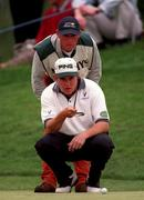 4 July 1997; Lee Westwood of England lines up a putt during the second round of the Murphy's Irish Open Golf Championship at Druid's Glen Golf Club in Wicklow. Photo by Brendan Moran/Sportsfile