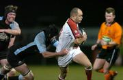 4 March 2005; Adam Larkin, Ulster, is tackled by Dan Turner, Glasgow Rugby. Celtic League 2004-2005, Pool 1, Ulster v Glasgow Rugby, Ravenhill, Belfast. Picture credit; Matt Browne / SPORTSFILE