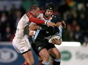 4 March 2005; Kevin Tkachuk, Glasgow Rugby, is tackled by Neil Best, left and Matt McCullough, Ulster. Celtic League 2004-2005, Pool 1, Ulster v Glasgow Rugby, Ravenhill, Belfast. Picture credit; Matt Browne / SPORTSFILE