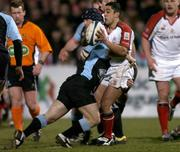 4 March 2005; Kieran Campbell, Ulster, is tackled by Graeme Beveridge, Glasgow Rugby. Celtic League 2004-2005, Pool 1, Ulster v Glasgow Rugby, Ravenhill, Belfast. Picture credit; Matt Browne / SPORTSFILE