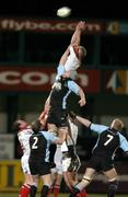 4 March 2005; Campbell Feather, Ulster, wins possession in the lineout against Paul Dearlove, Glasgow Rugby. Celtic League 2004-2005, Pool 1, Ulster v Glasgow Rugby, Ravenhill, Belfast. Picture credit; Matt Browne / SPORTSFILE
